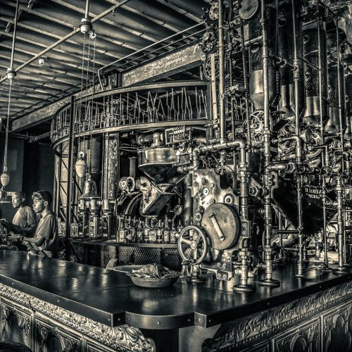 Truth Coffee Steam Punk pipes, Best Coffee shop in Africa. Cape Town