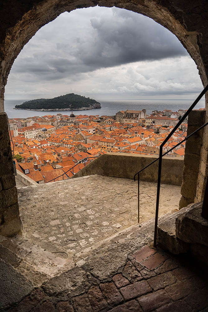 Dubrovnik Lokrum Island from Old City Wall