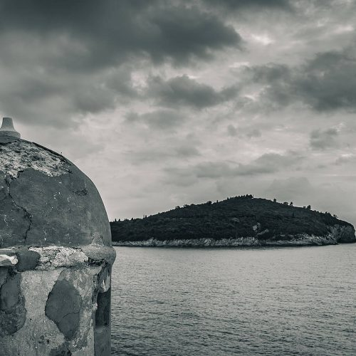 Lokrum Island from Dubrovnik wall look out post