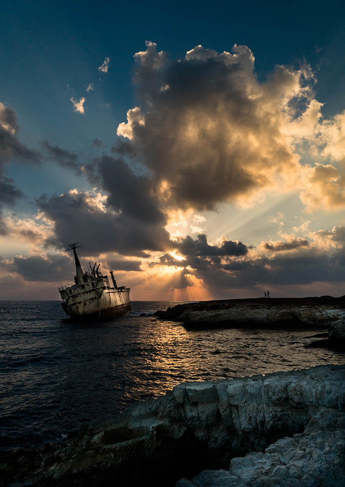 Cyprus shipwreck at Sea Caves