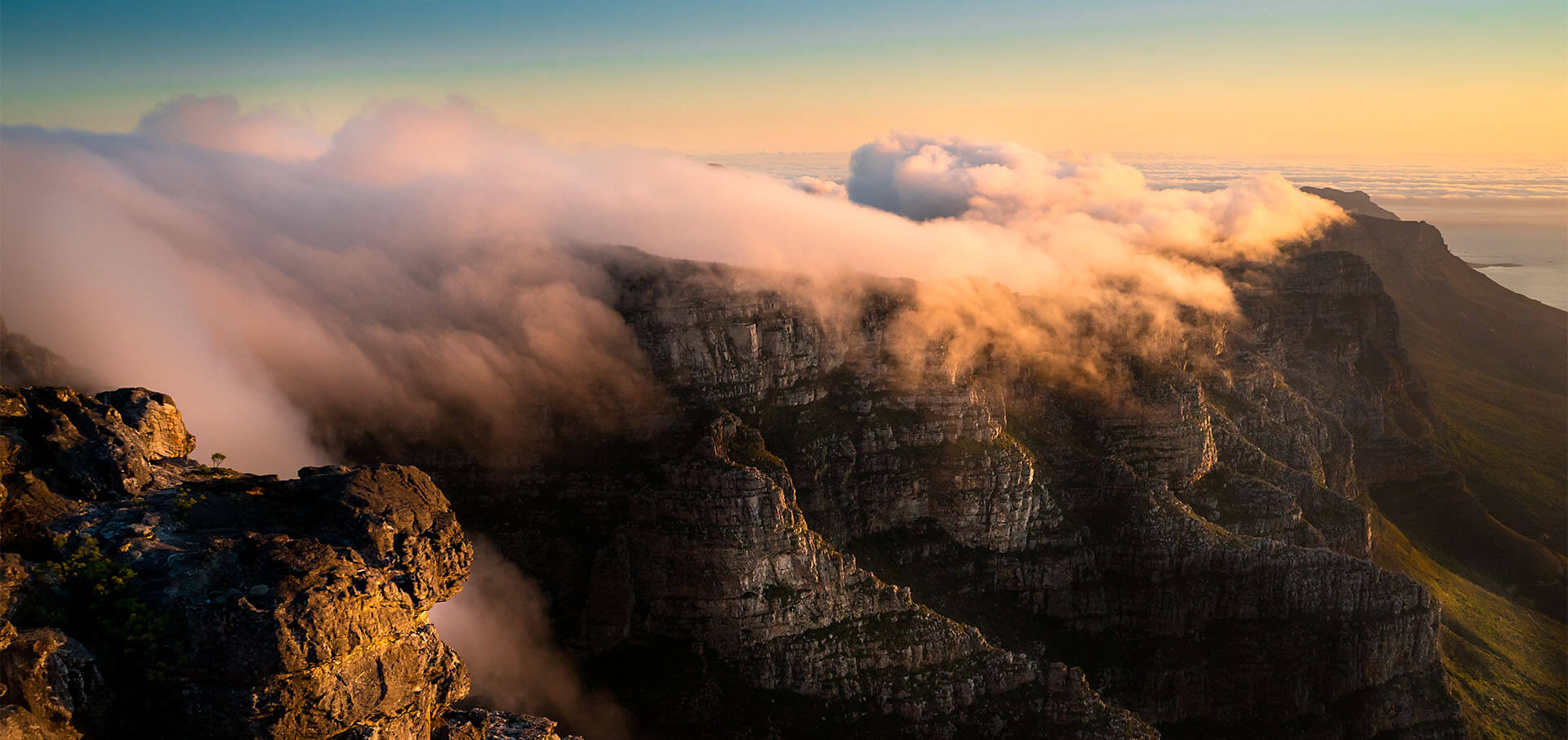 Table mountain with clouds in Cape town, south africa