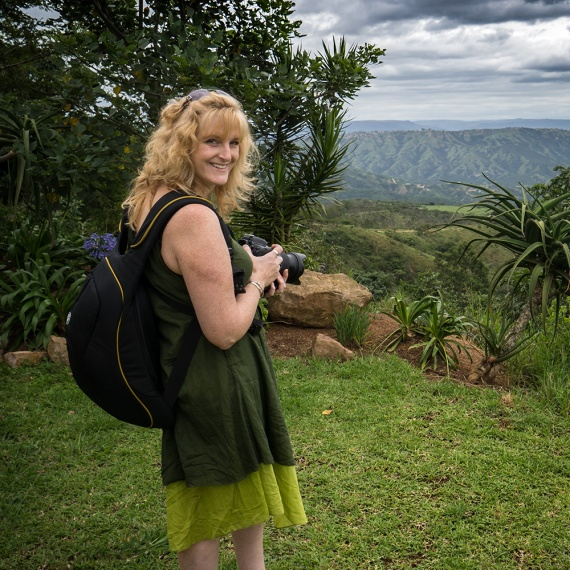 Ally with her best camera bag for travel photography