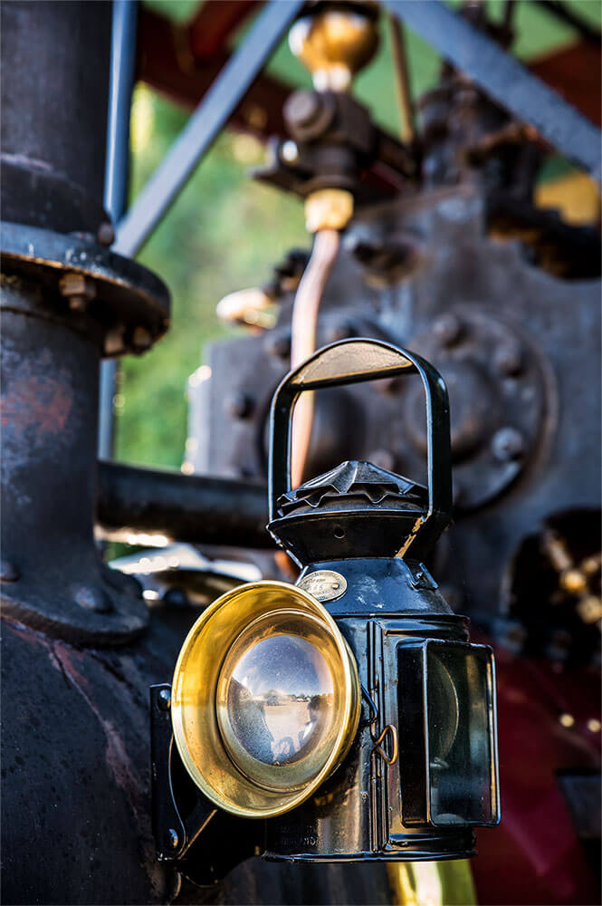Steam Rally traction engine close up of lamp