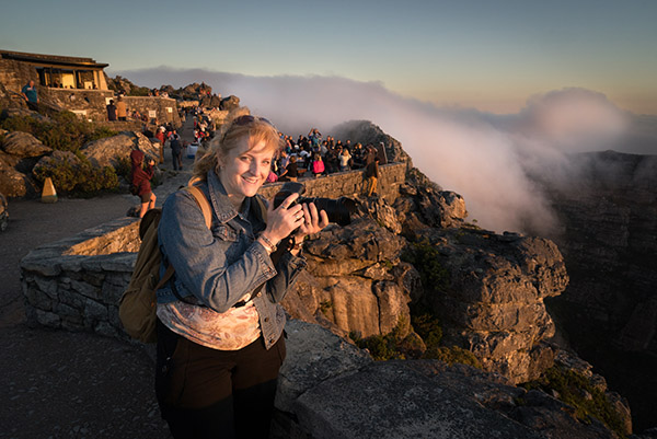 Ally on Table Mountain at Sunset