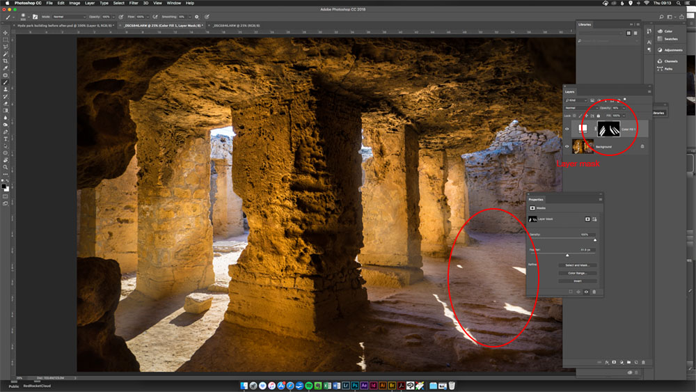 photoshop layer mask on Tombs of Kings before and after image