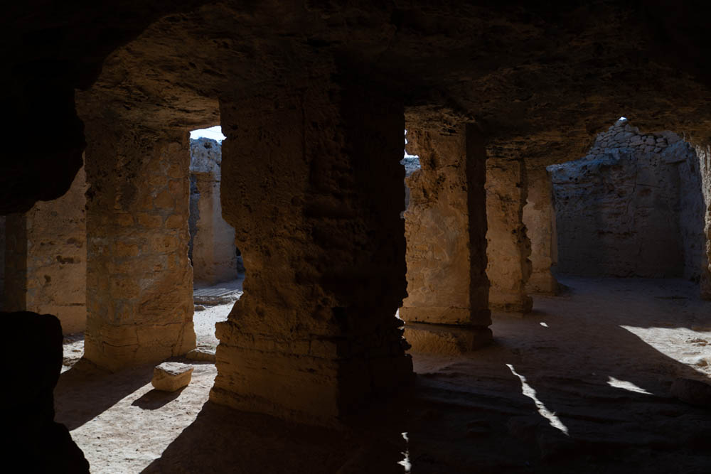 Tombs of the kings before and after in Cyprus from camera