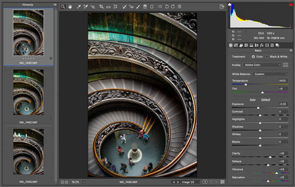 After edit in Raw vatican staircase