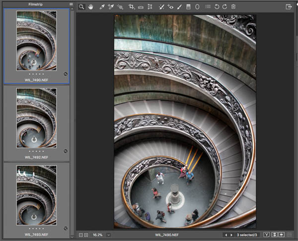 Before edit in Raw vatican staircase