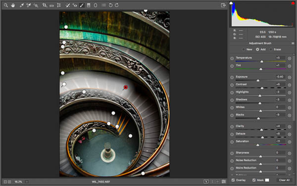 adjustment brush in Raw on vatican staircase