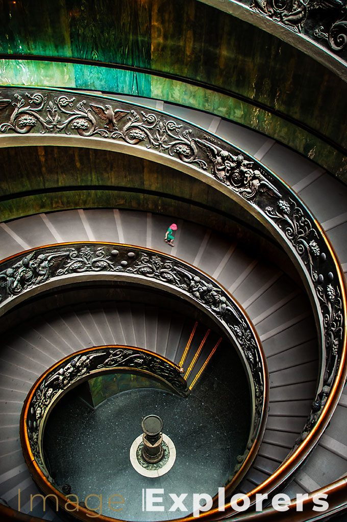 vatican museum staircase photography with girl