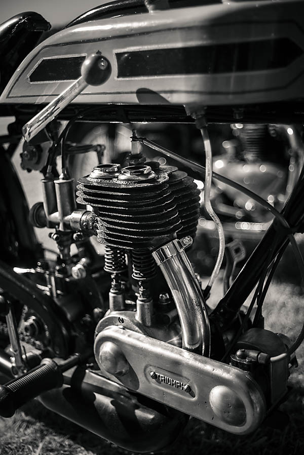 What makes a good black and white photo of a motorcycle engine