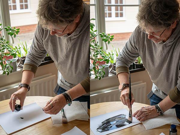 cyanotype photo process - preparing the paper