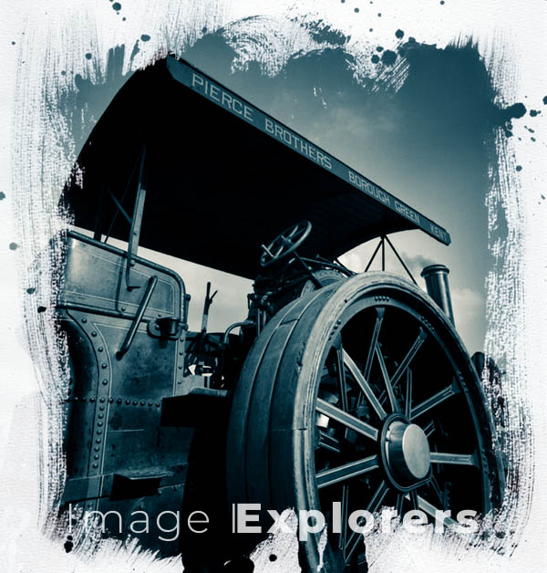 Traction Engine wheel Cyanotype Photo