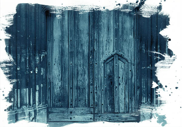 Church texture photography in cyanotype style