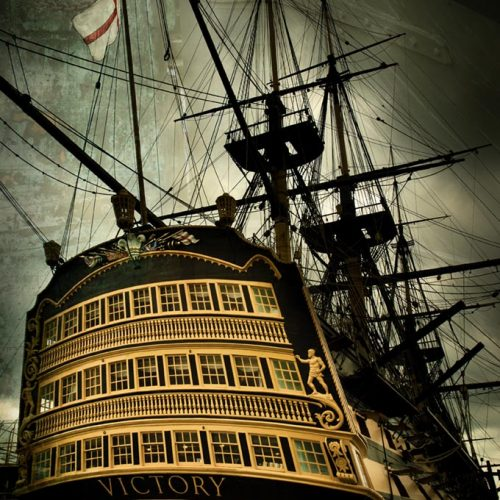 Portsmouth HMS Victory with texture overlay