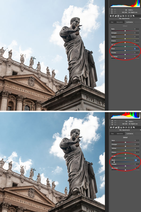 use camera Raw to make the sky dark in a photo of Italian statues