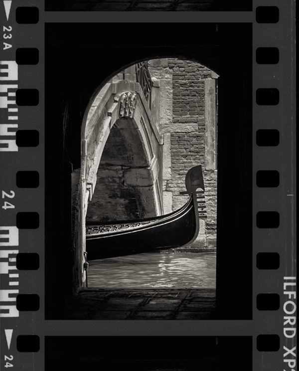 best black and white films for travel photography in Venice contact sheet