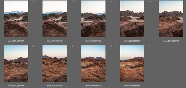 Contact sheet of images once processed in Raw