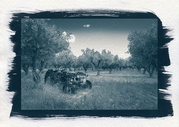 Tractor with old photo look Zante Greece