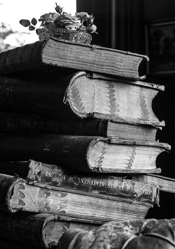 Original books before old vintage photo treatment