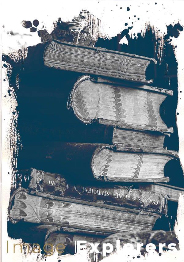 Original books after old vintage photo treatment