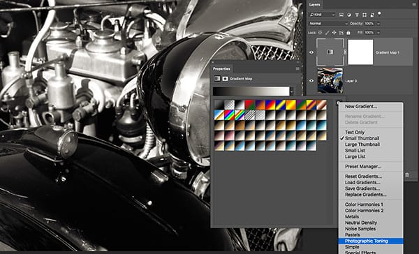 Choose Photographic Toning from the gradient map option menu