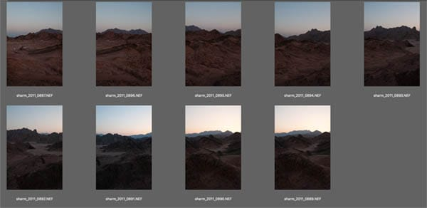contact sheet of raw images ready for panorama