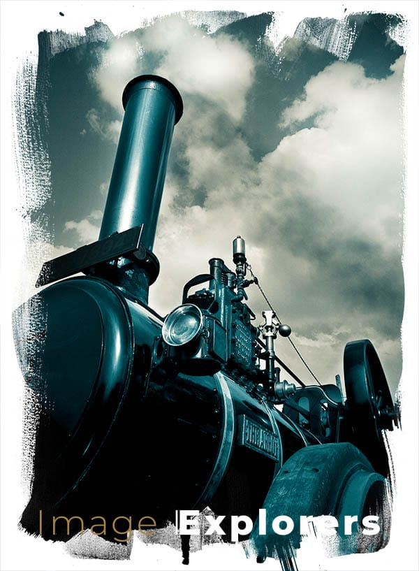 Mix of yellow and cyan for old photo look of vintage traction engine