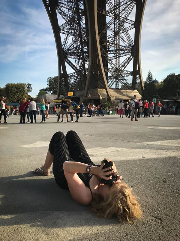 Ally photographing up the tower