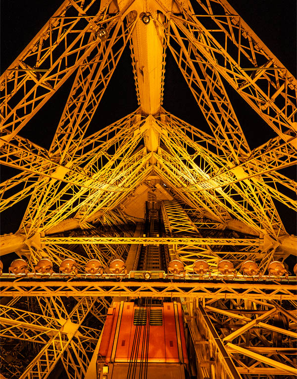 Inside the eiffel tower structure