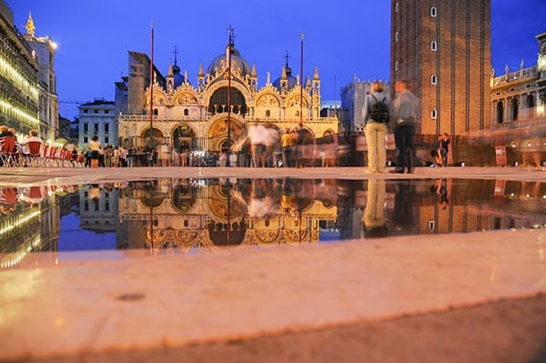 St Marks square venice reflection in puddle