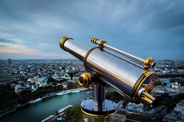 View of paris from Eiffel tower telescope