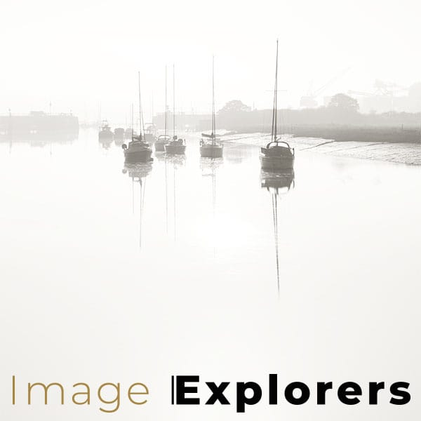 Photographing reflections in Wivenhoe essex mist