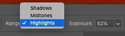 dodge and burn highlights midtones and shadow settings menu