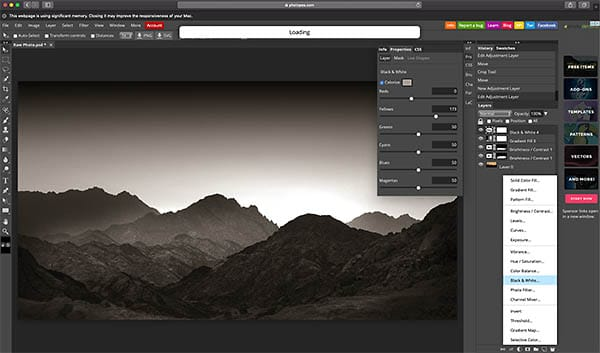 Black and white adjustment layer like photoshop