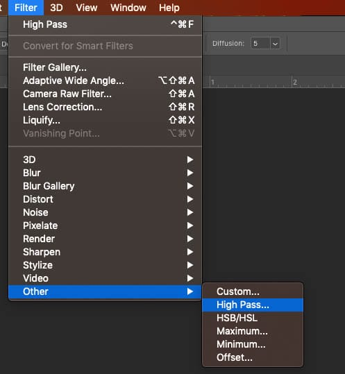 filter menu choose high pass for image sharpening