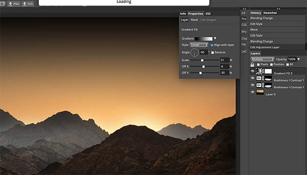 gradient adjustment layer with multiply