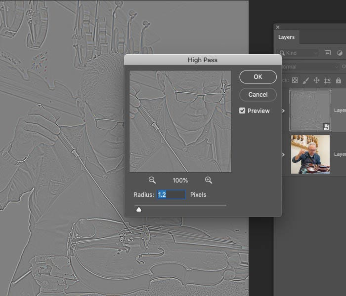 high pass on layer to sharpen photo edges