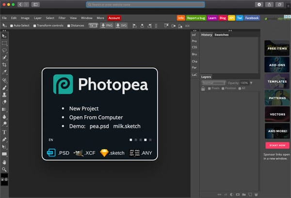 photopea interface