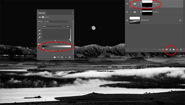 select sky and add adjustment layer to darken sky