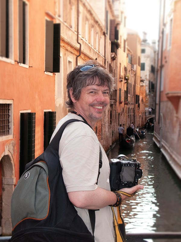 tim with crumpler in Venice