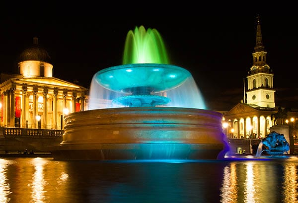 Night photography trafalgar square London with long exposure to get water movement
