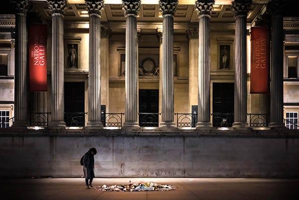 Night photography trafalger square