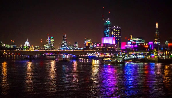 view from Thames to London city Night photography