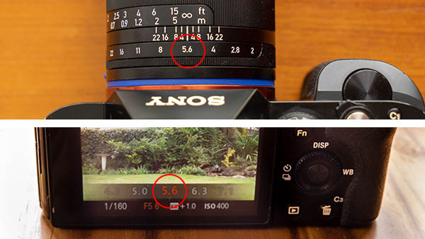 aperture on lens or on camera display