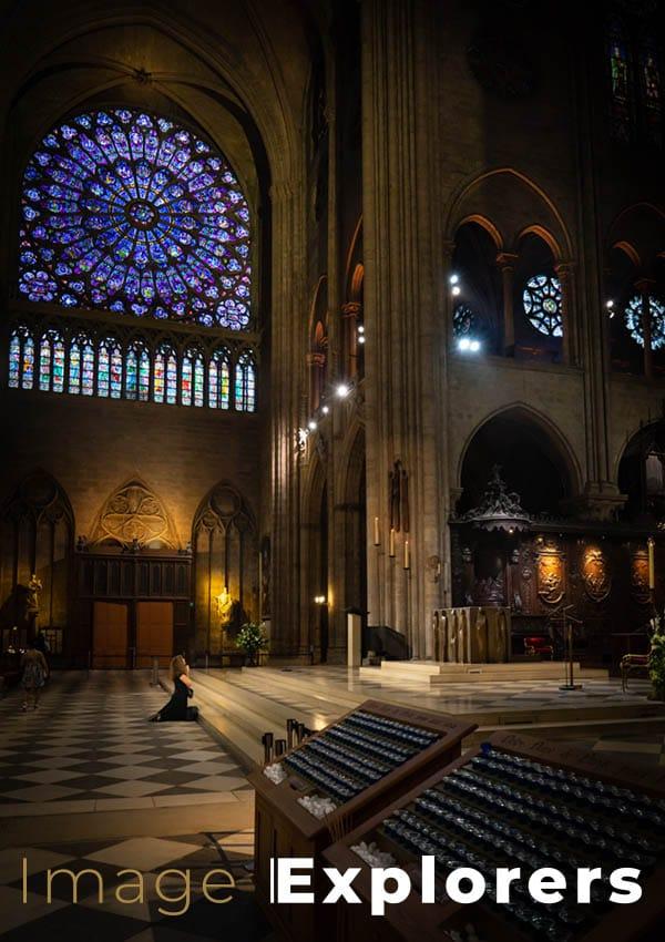 Notre Dame worshiper inside