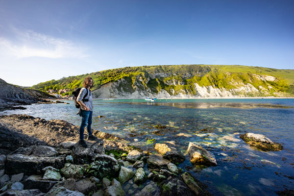 Jethro looking out to lulworth cove looking for a good viewpoint for us