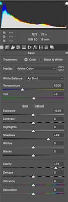 basic raw settings on long exposure image