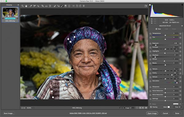 showing photograph like steve mccurry basic colour correction
