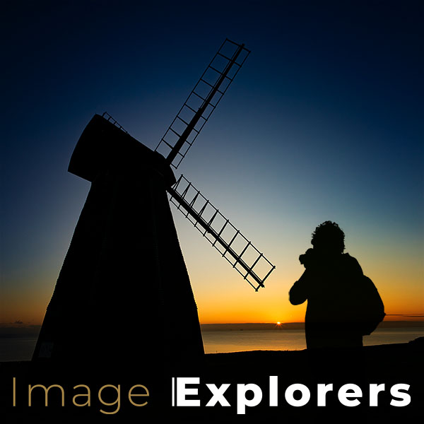 settings for silhouettes of sunsets showing photographer and windmill